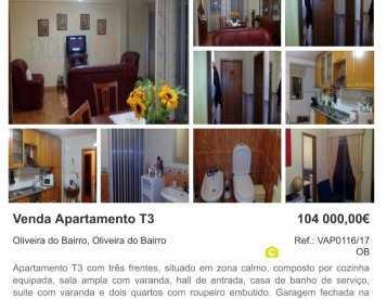 Apartamento T3 em Oliveira do Bairro