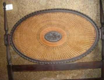 cama de casal - cabeceira com medalhão em arendado de palhinha