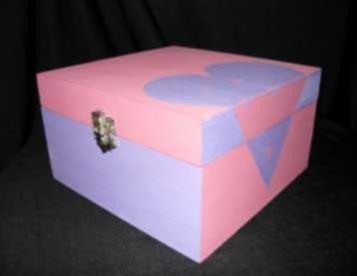 caixa para pacotes de chá... madeira  pintada à mão
